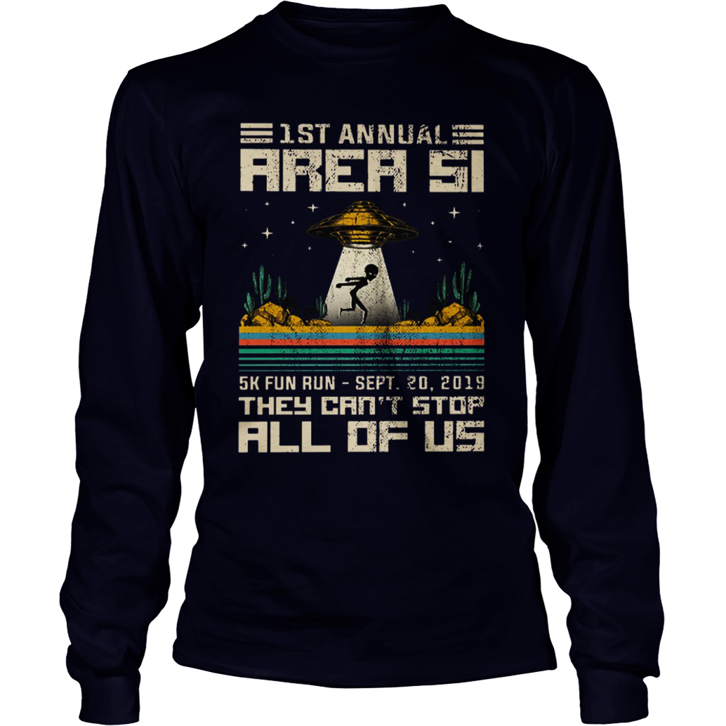 1st Annual Area 51 5k fun run sept 20 2019 long sleeve tee