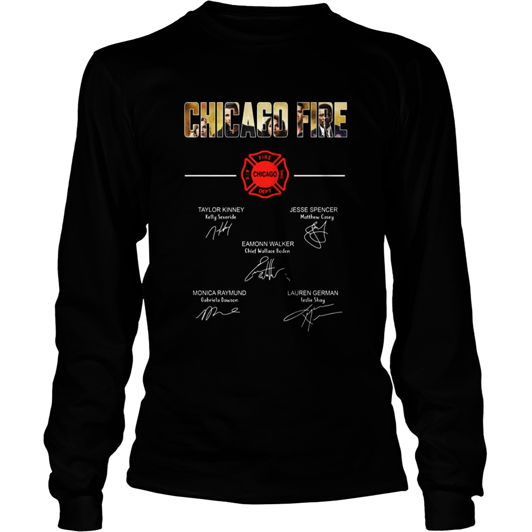 Chicago fire all actor signature long sleeve tee