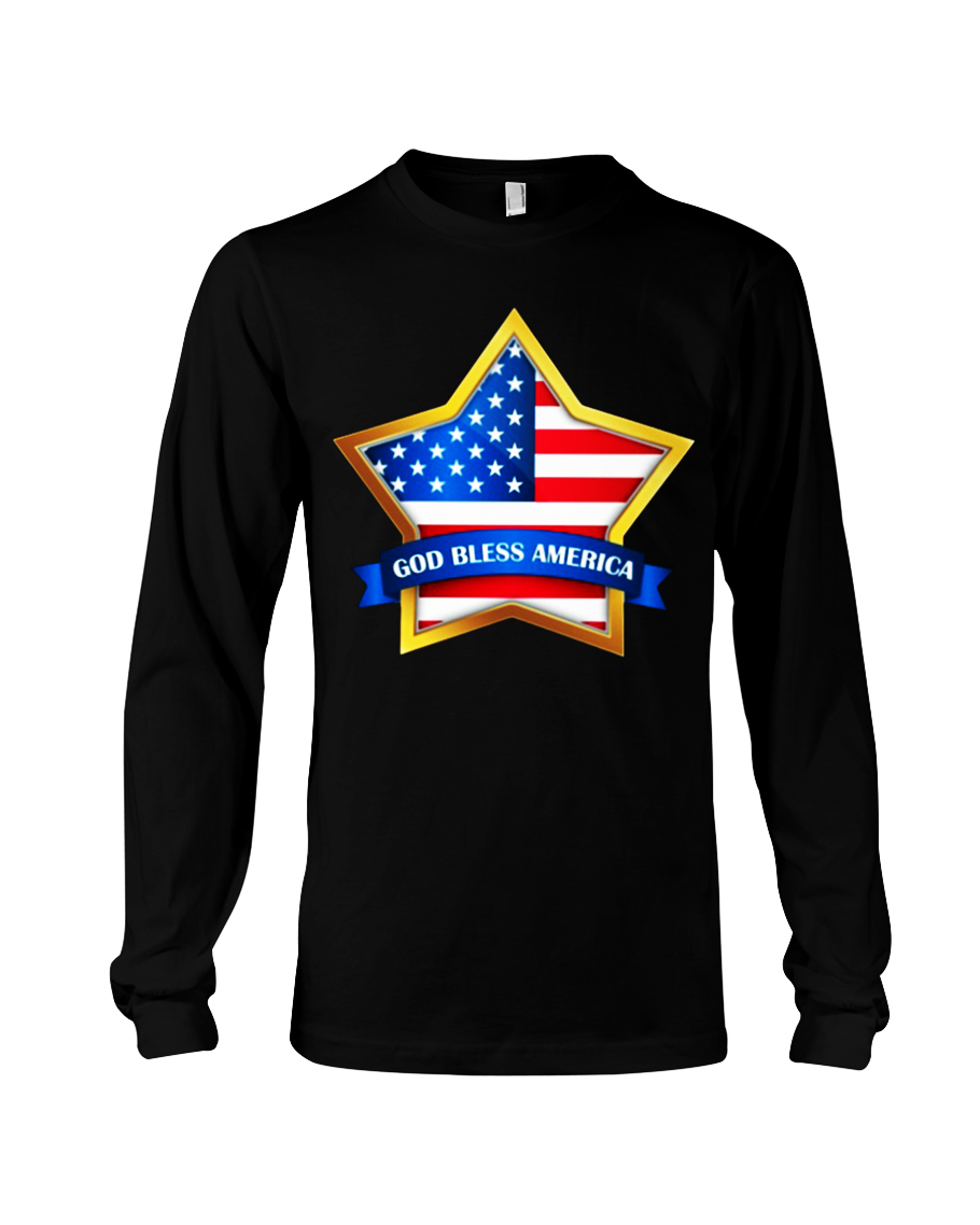 Star God bless America long sleeve tee