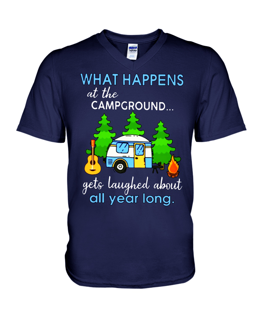 What happens at the campground gets laughed about all year long v-neck