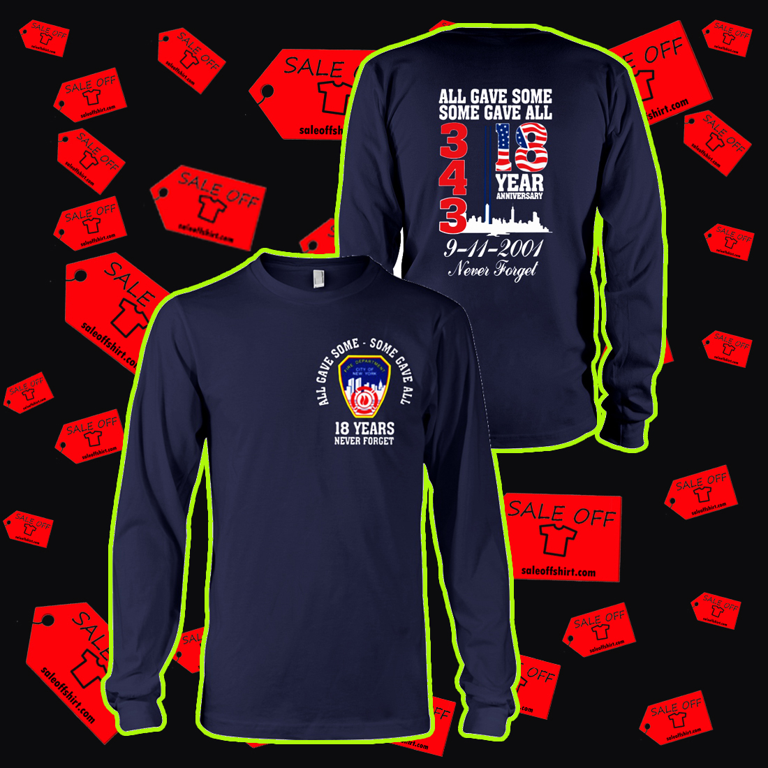 343 all gave some some gave all 18 years anniversary long sleeve tee