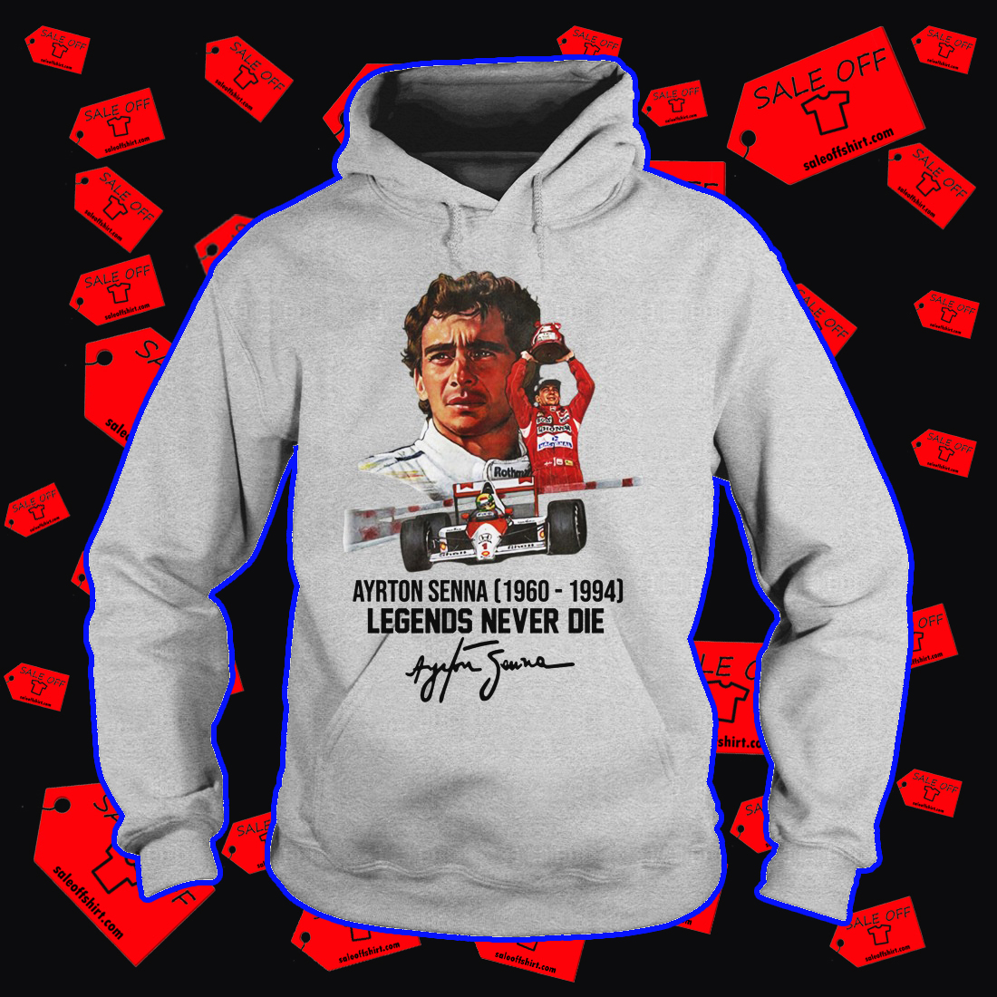 Ayrton Senna legends never die signature hoodie