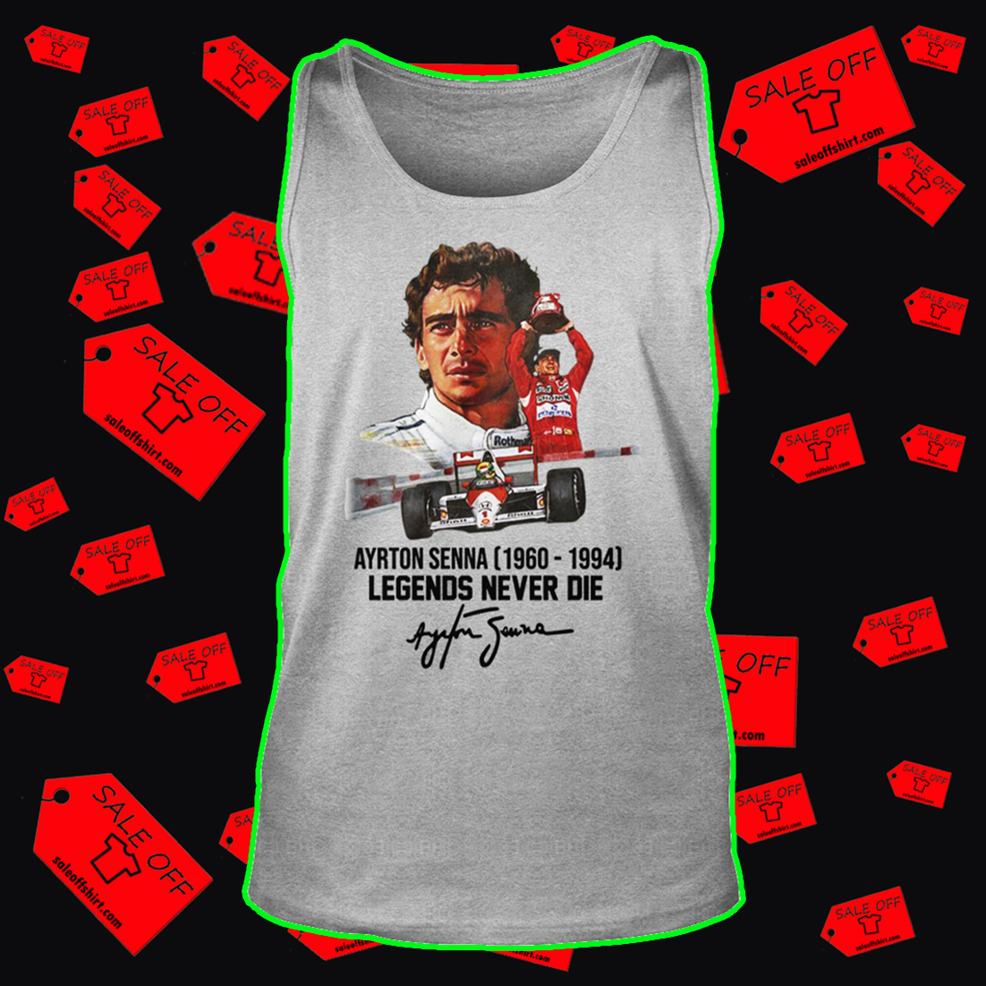 Ayrton Senna legends never die signature tank top