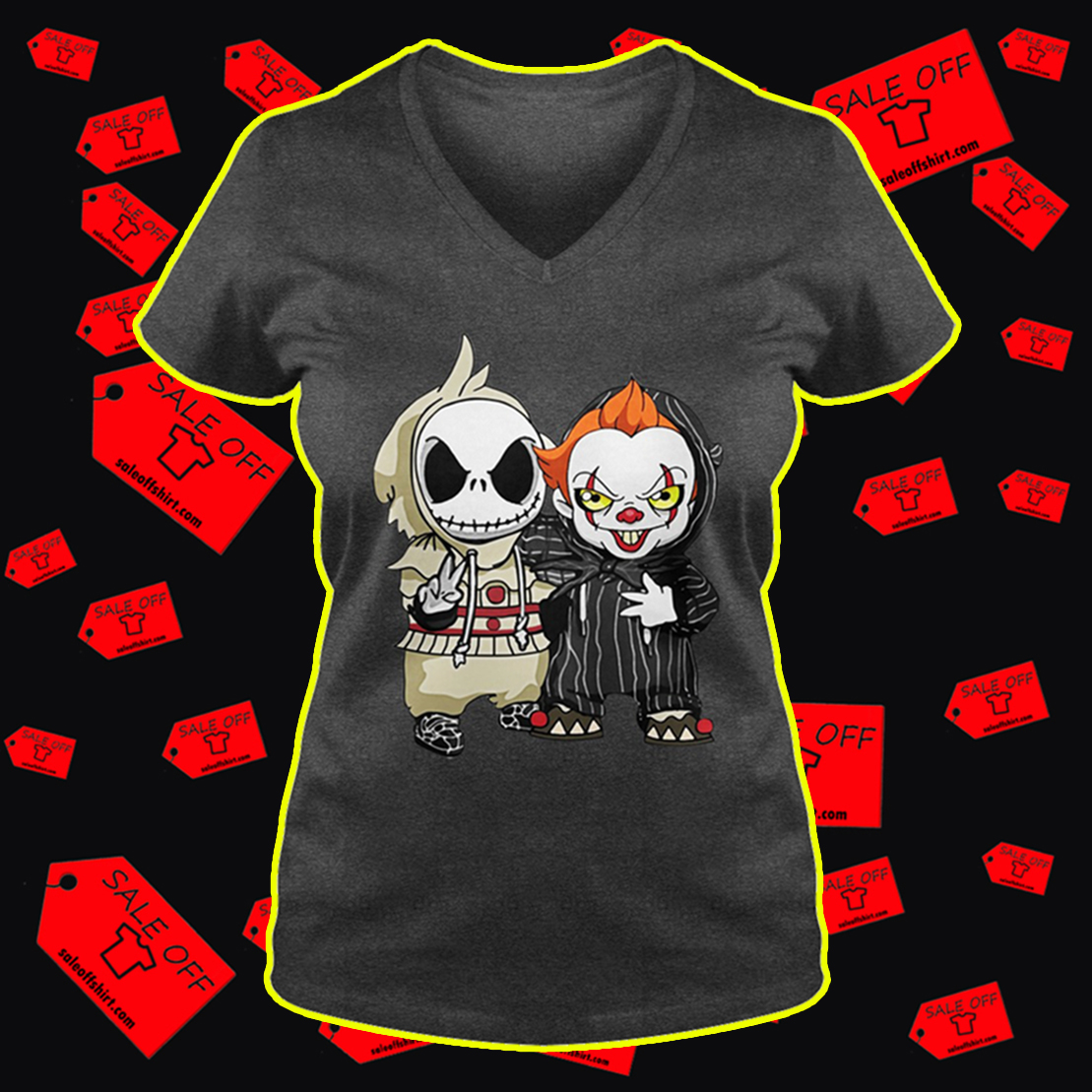 Baby Jack Skellington and Pennywise v-neck