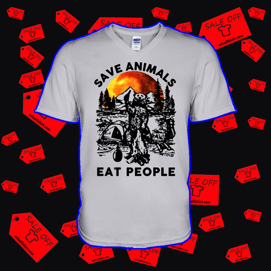 Bear save animals eat people v-neck
