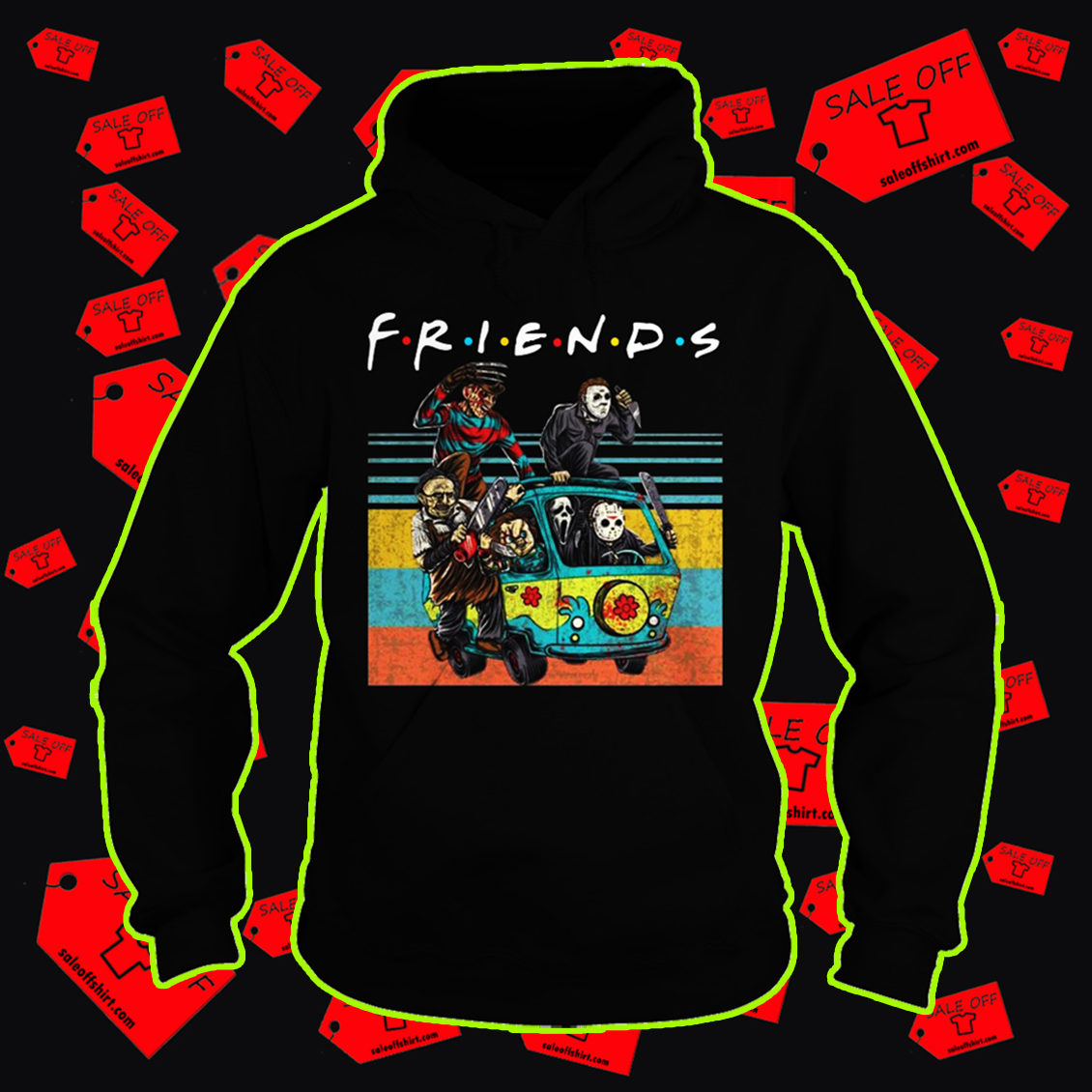 Car Horror movie characters Friends TV show hoodie