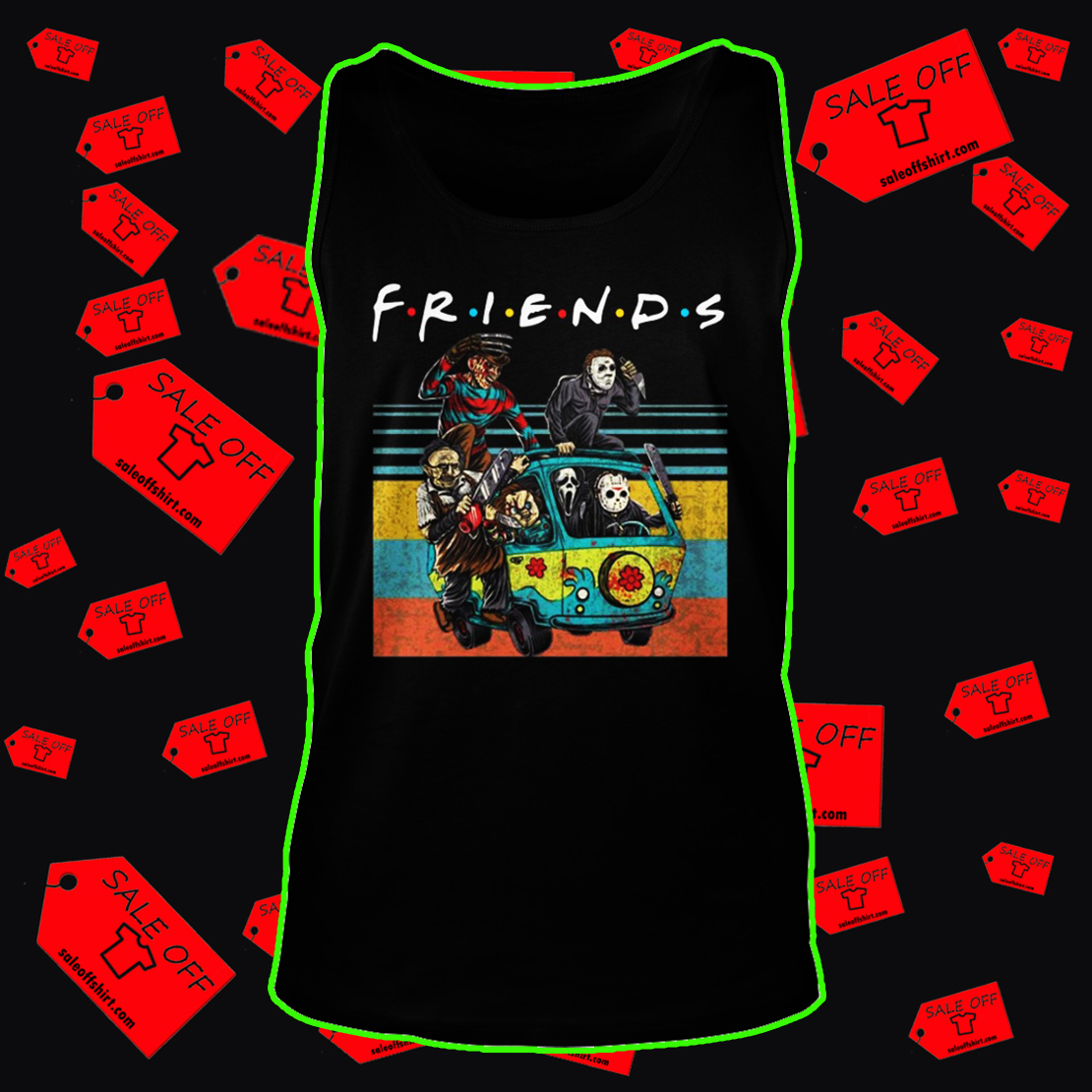 Car Horror movie characters Friends TV show tank top