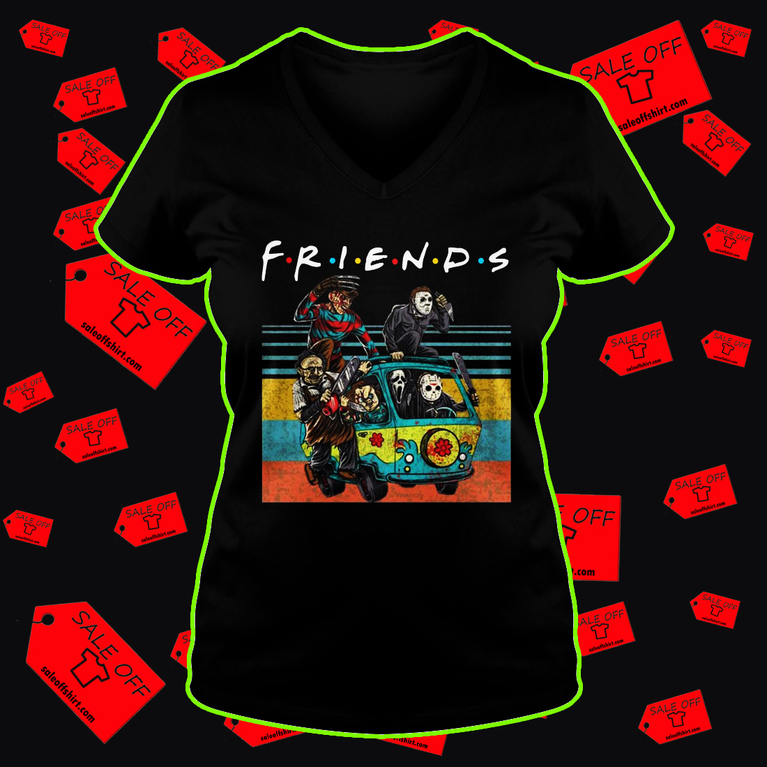 Car Horror movie characters Friends TV show v-neck