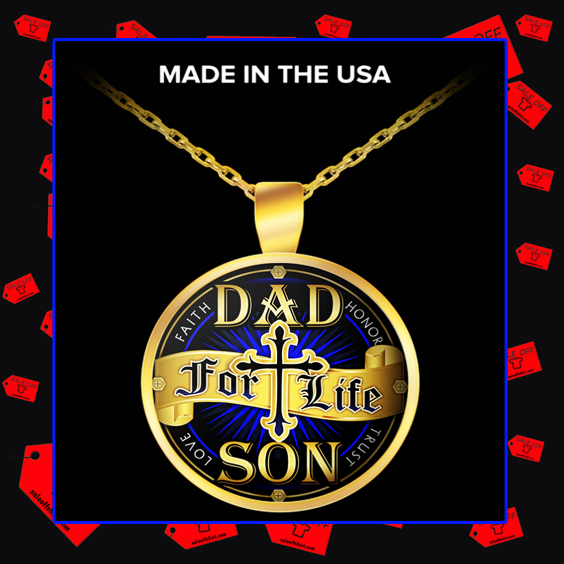 Dad for life son faith honor trust love necklace - gold plated
