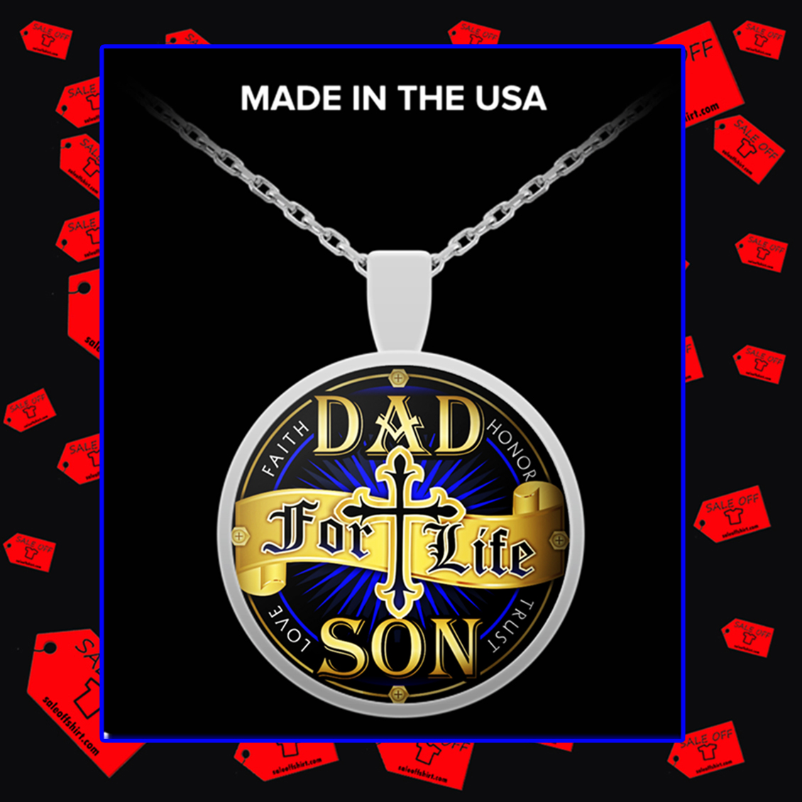 Dad for life son faith honor trust love necklace - silver plated