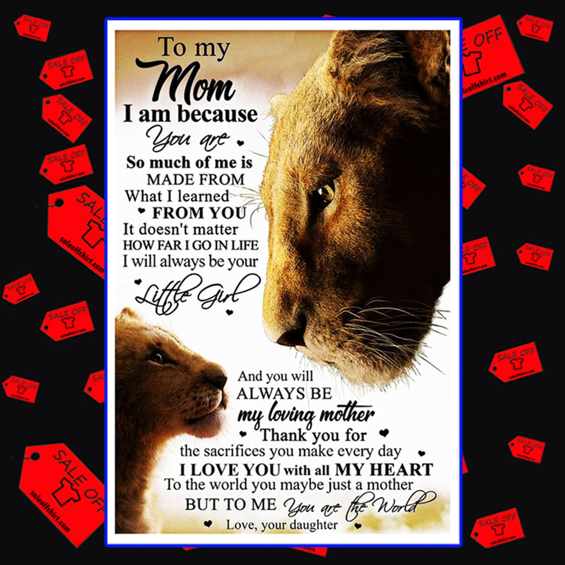Lion King to my mom daughter poster 16x24