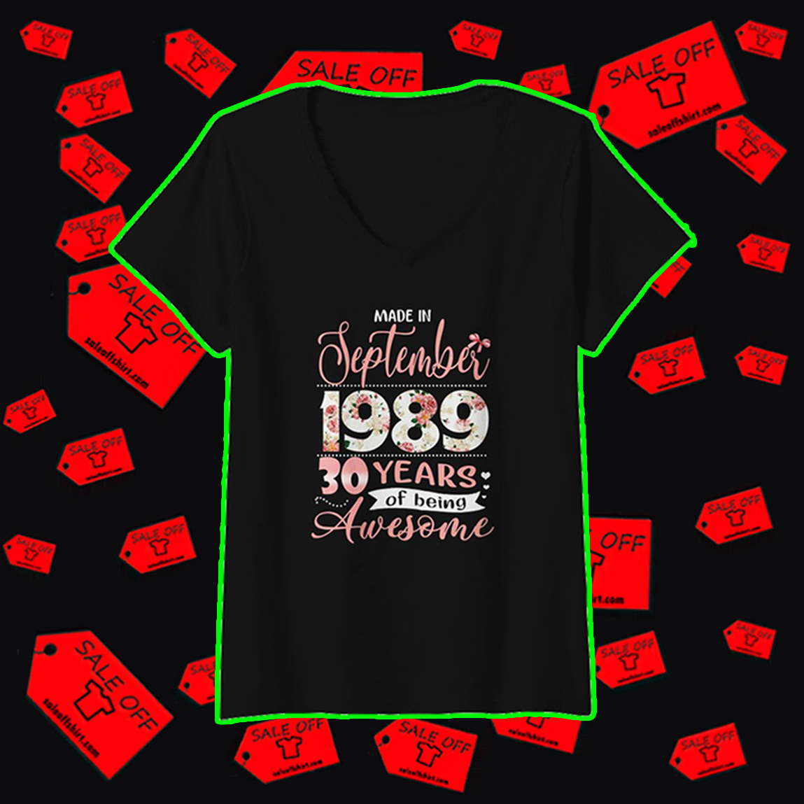 Made in september 1989 30 years of being awesome v-neck