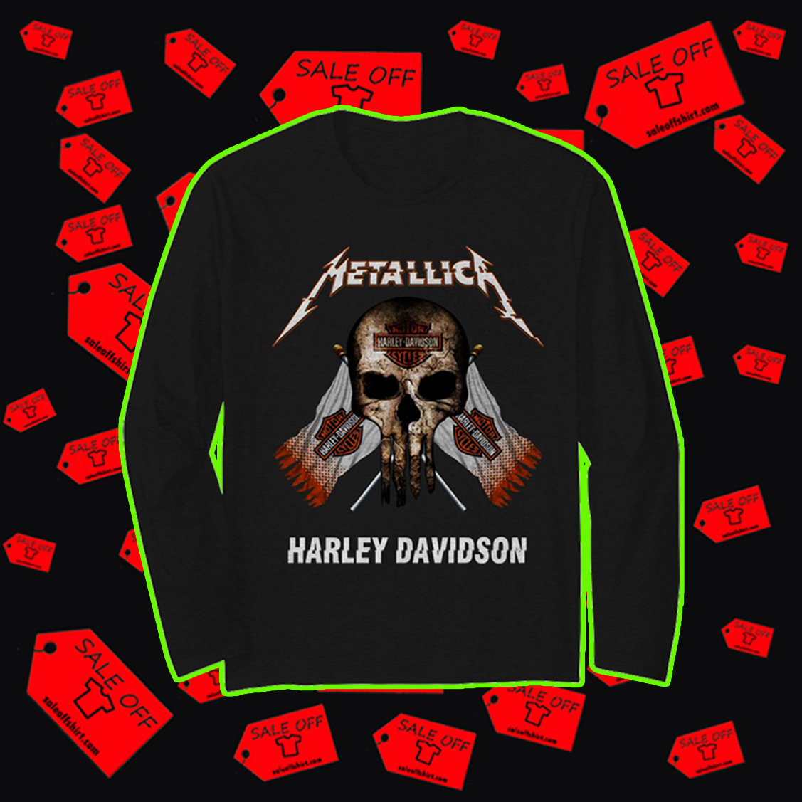 Metallica Harley-Davidson skull long sleeve t-shirt