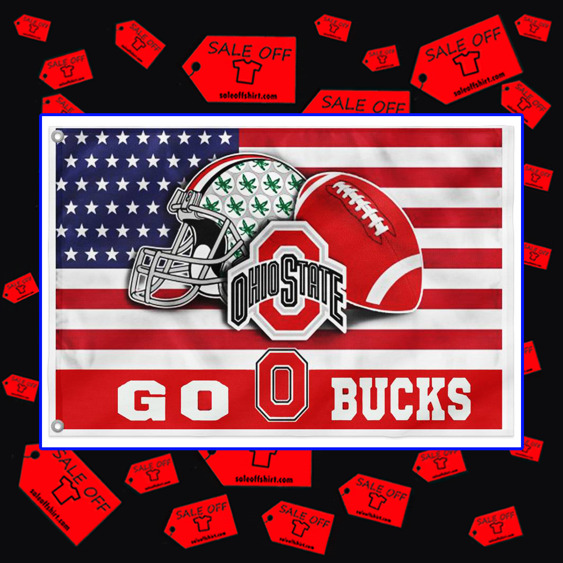 Ohio State Buckeyes Go Bucks flag 24x36