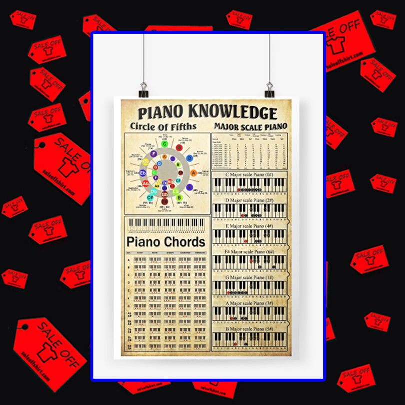 Piano knowledge circle of fifths major scale piano piano chords poster A3 (297 x 420mm)