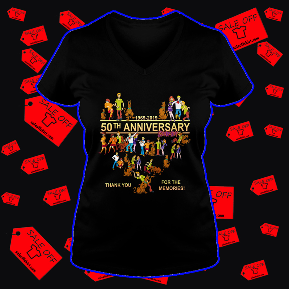 Scooby Doo 50th anniversary thank you for the memories v-neck