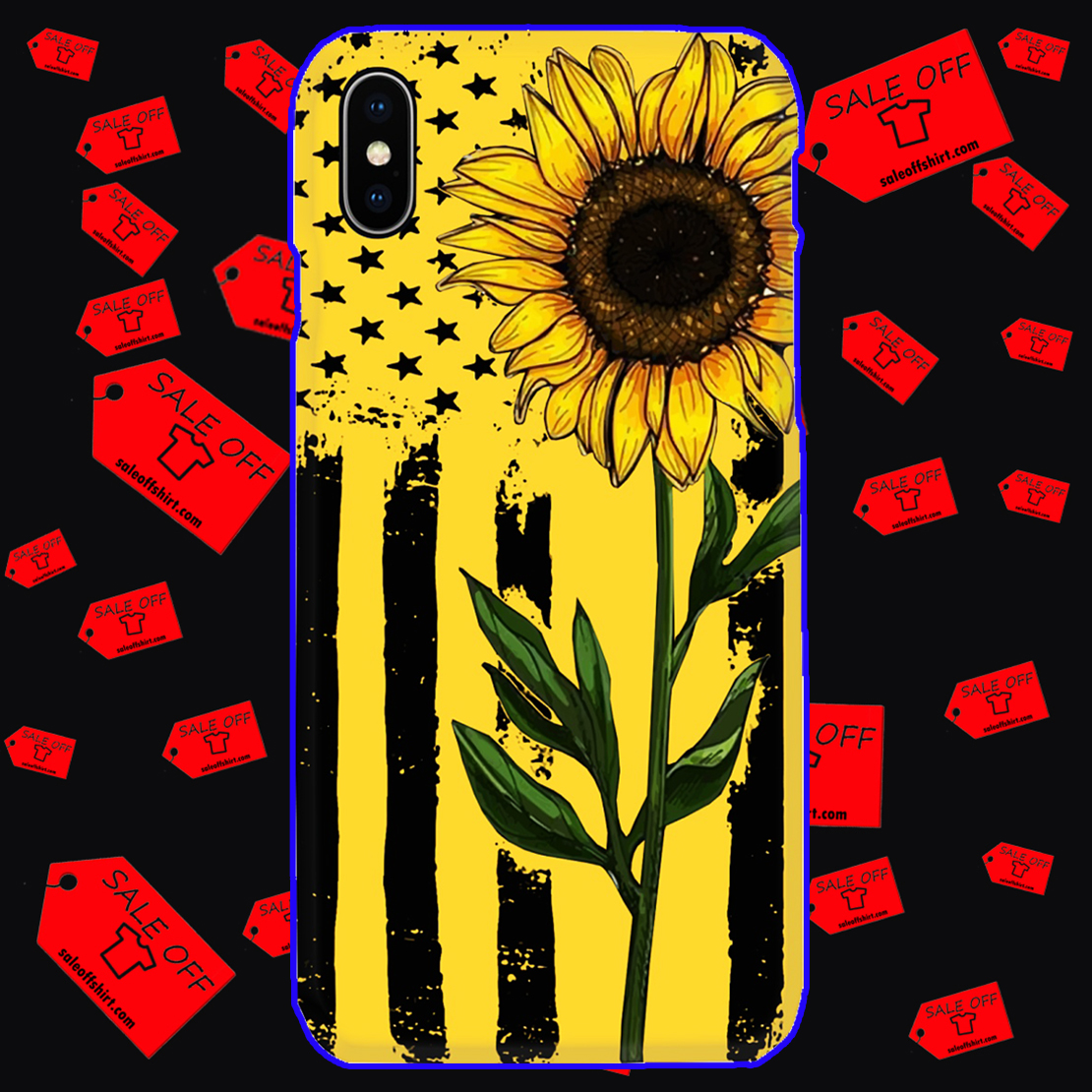 Sunflower American Flag phone case - iphone X case