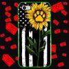 Sunflower American flag paw phone case