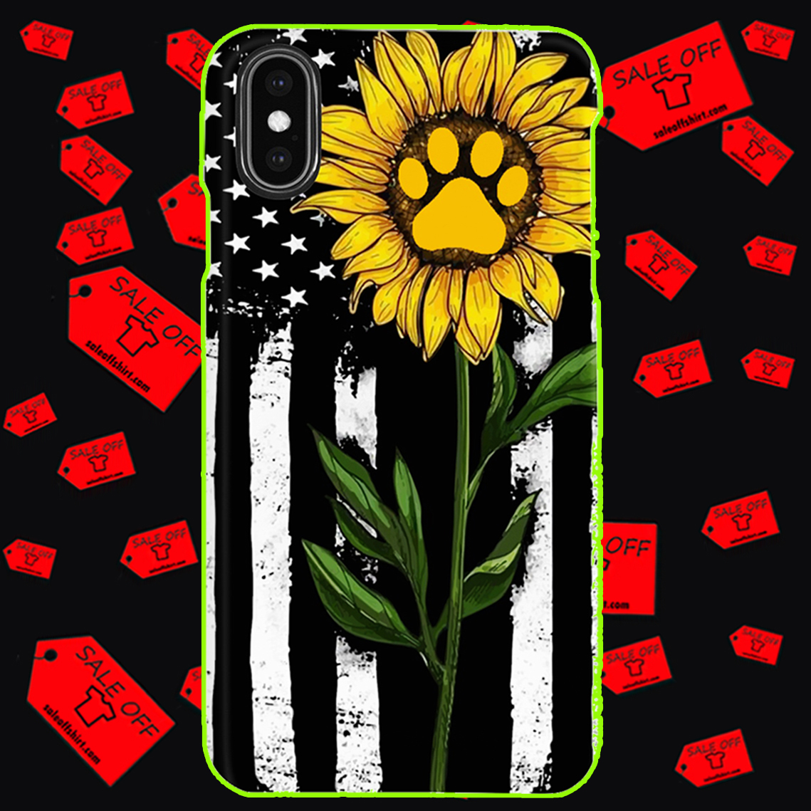 Sunflower American flag paw phone case - iphone XS max case