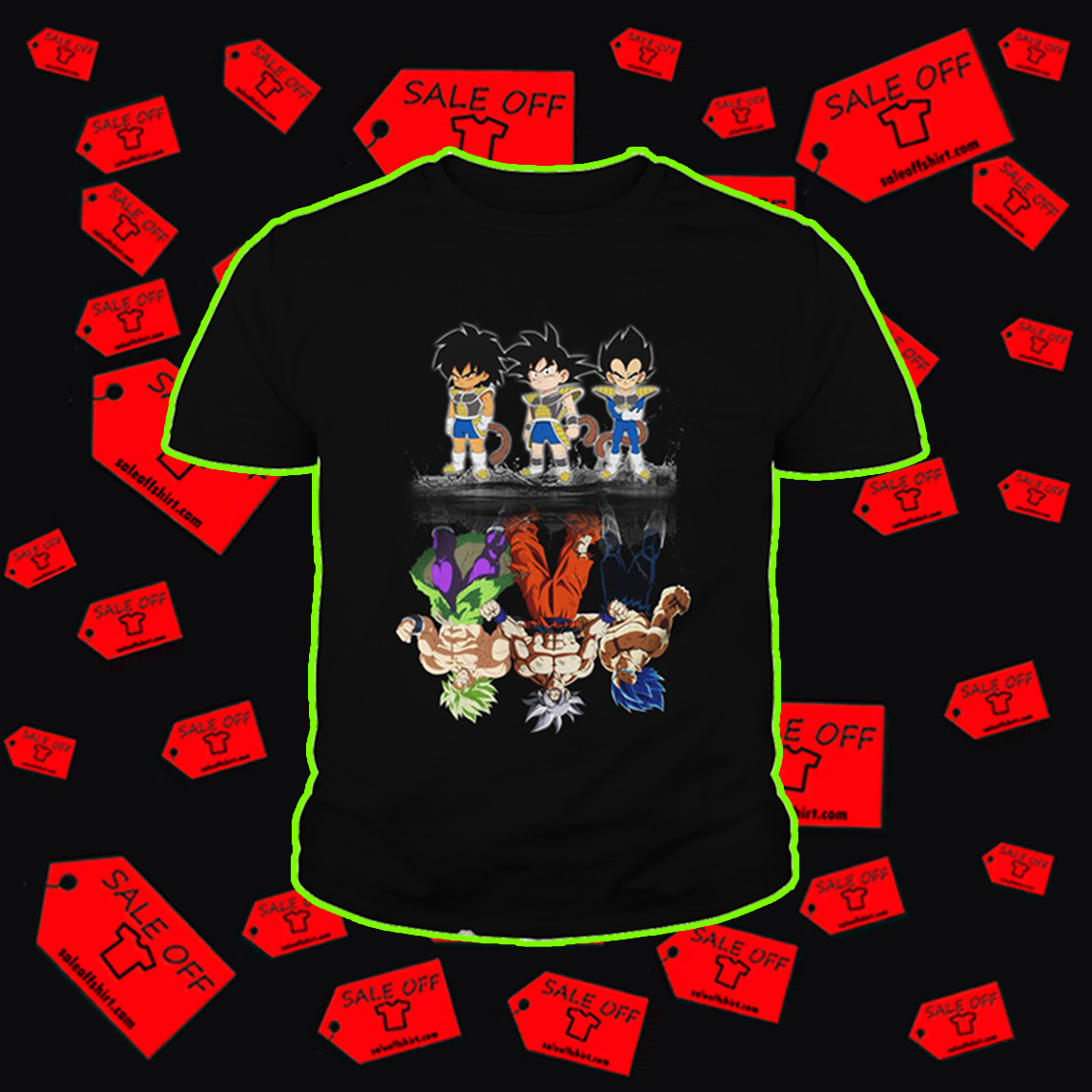 Super Saiyan Dragon Ball reflection youth tee