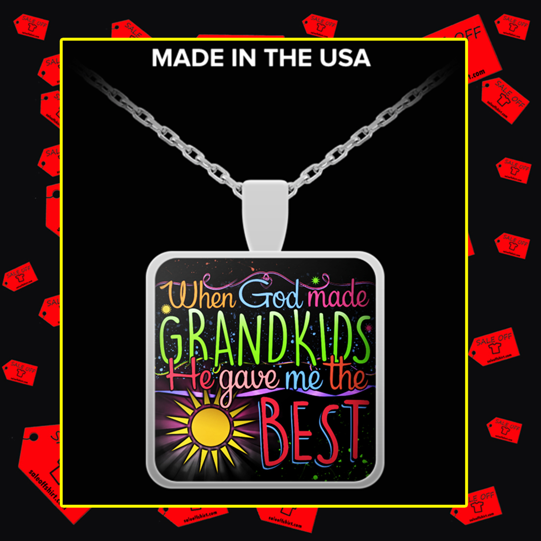 When God made grandkids he gave me the best necklace - silver plated