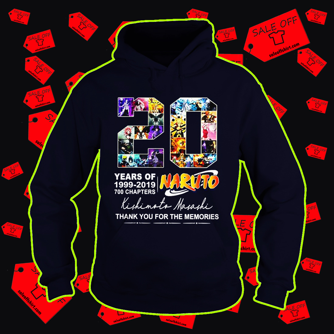 20 years of Naruto thank you for the memories hoodie