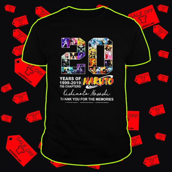 20 years of Naruto thank you for the memories shirt