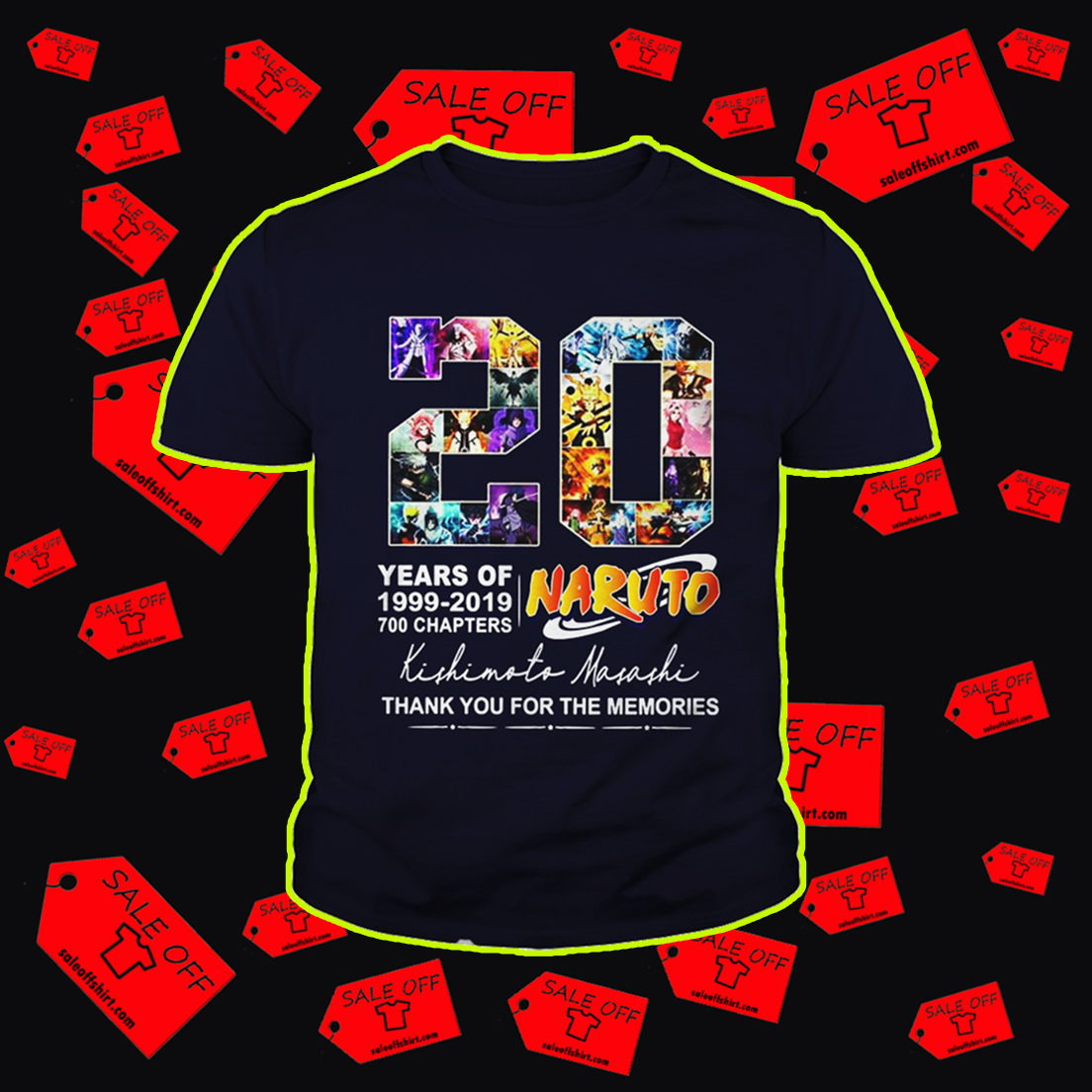 20 years of Naruto thank you for the memories youth tee