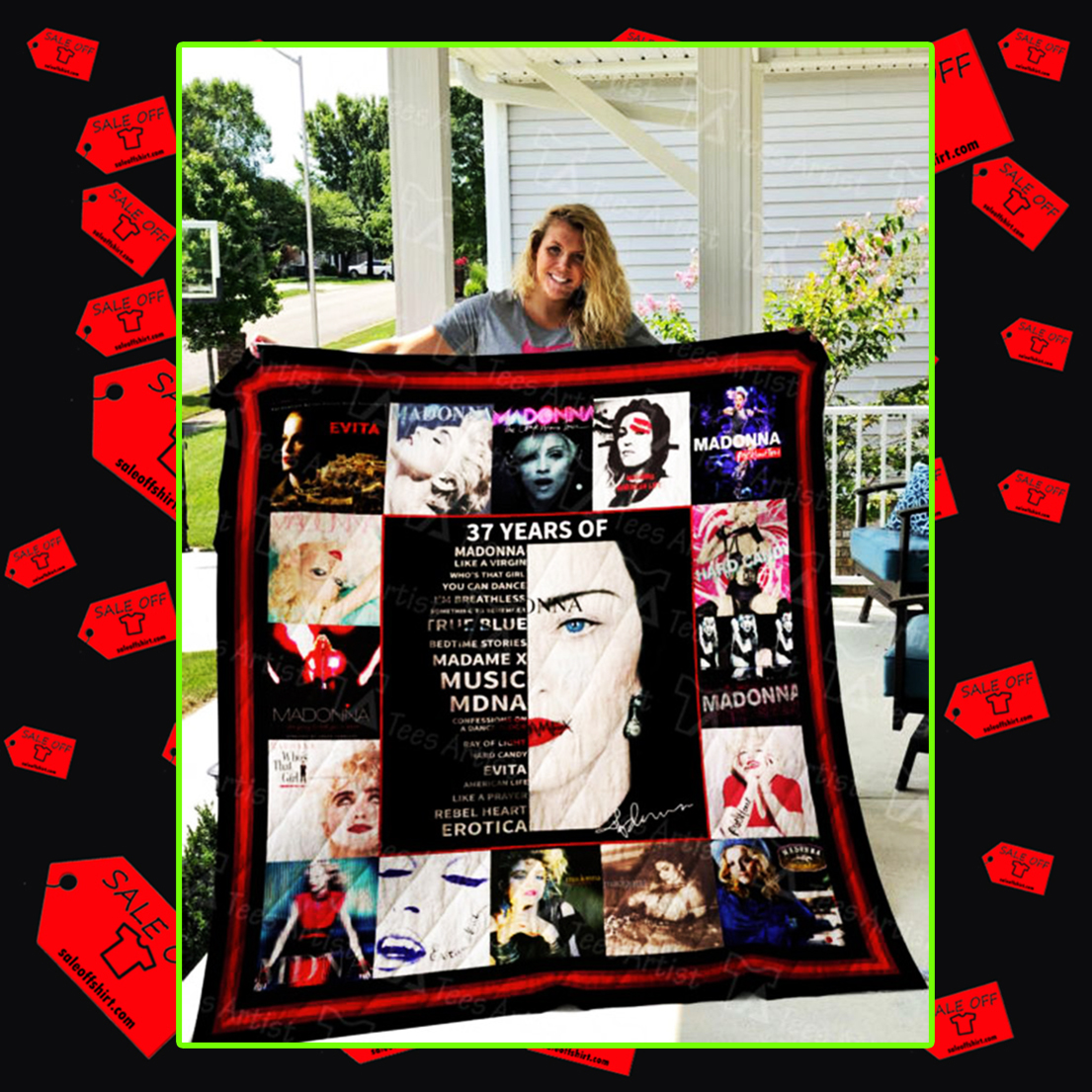 37 years of Madonna quilt blanket - queen (70x80 inches)