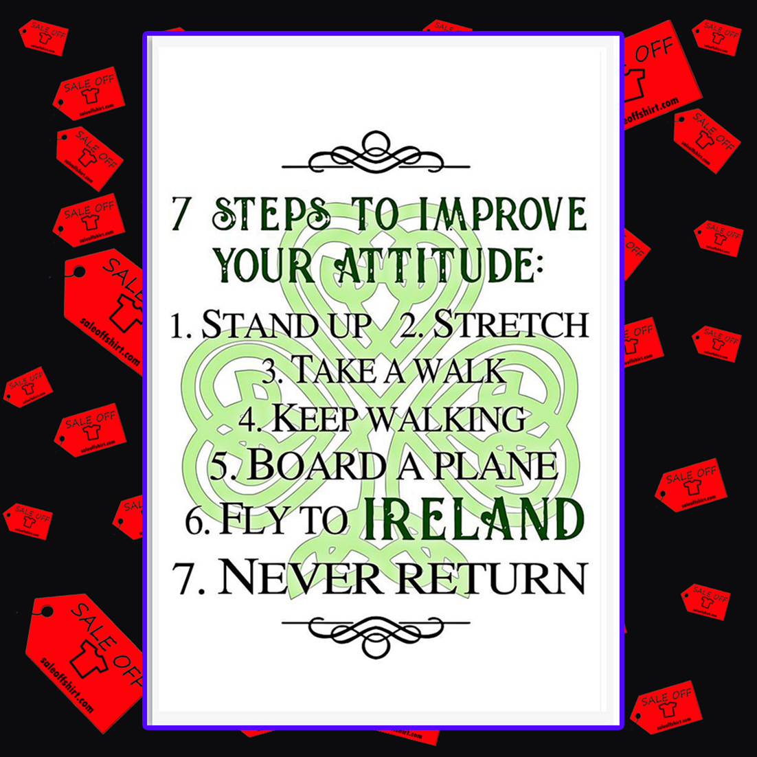 7 steps to improve your attitude poster 24x36