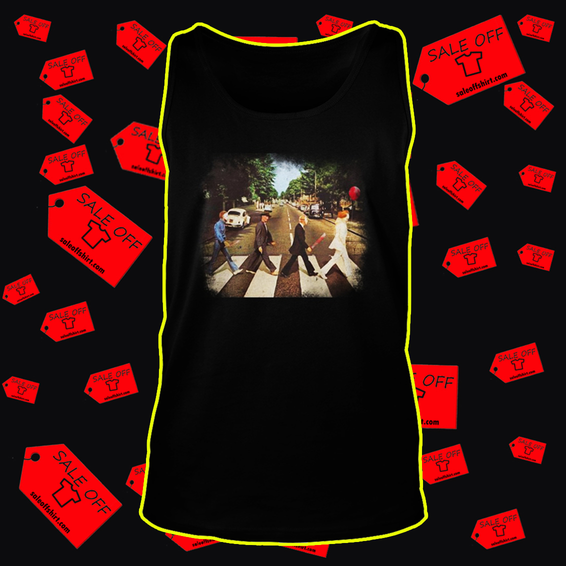 Abbey road Pennywise Michael Myers Freddy Krueger Jason Voorhees tank top