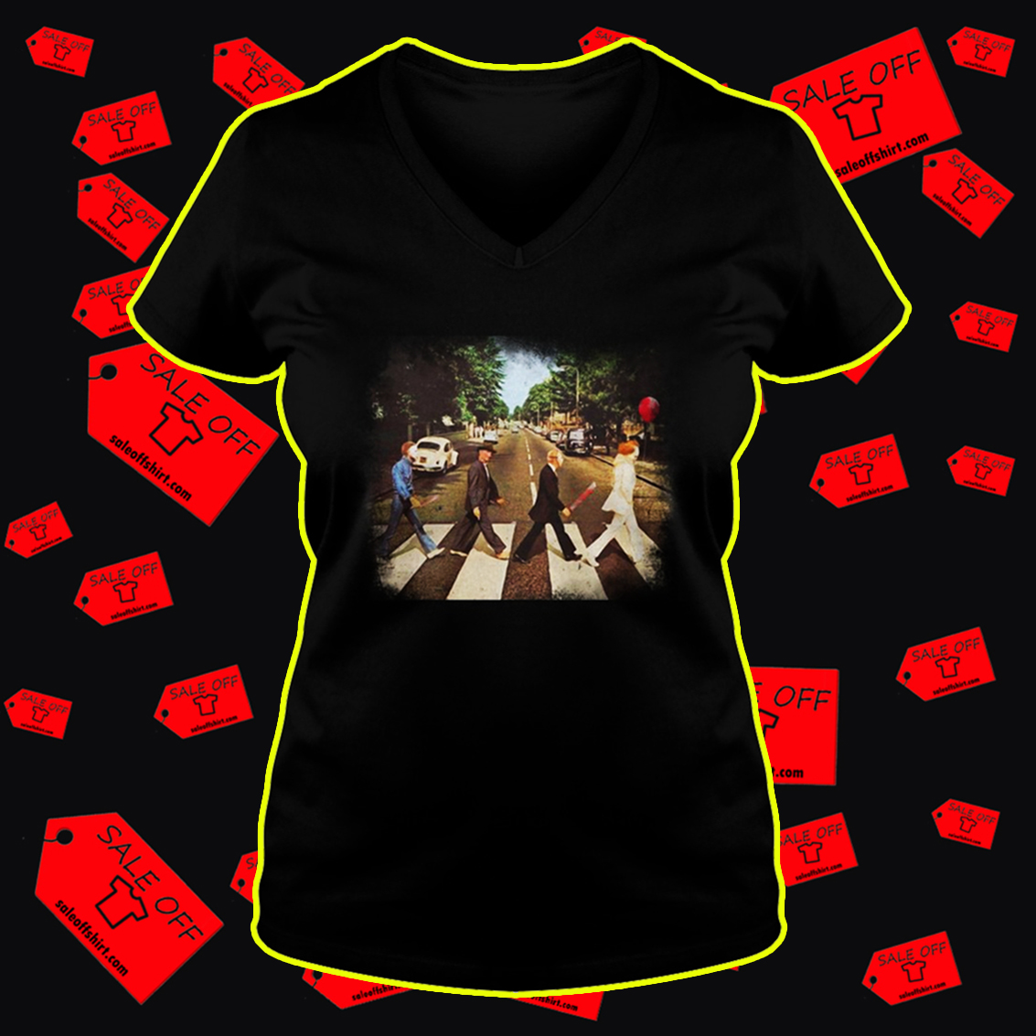 Abbey road Pennywise Michael Myers Freddy Krueger Jason Voorhees v-neck