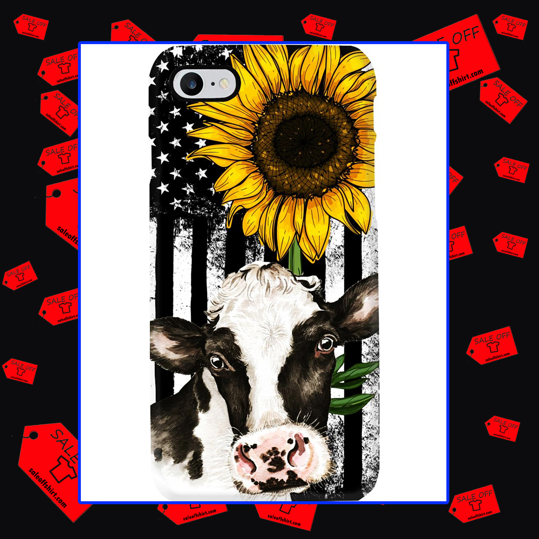 American Flag Sunflower Cow Phone Case - Iphone 7 case