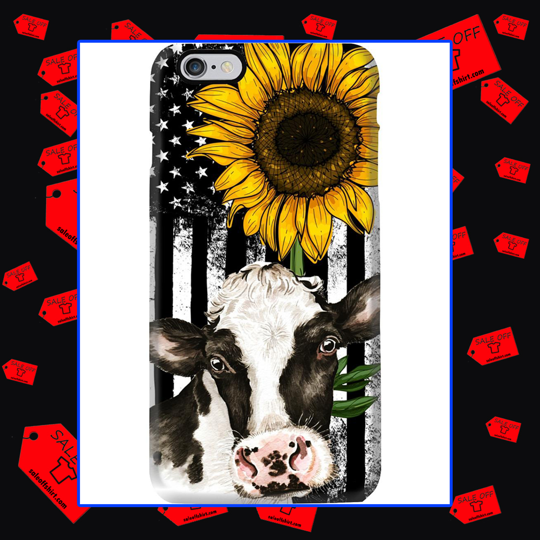 American Flag Sunflower Cow Phone Case - Iphone 7 plus case