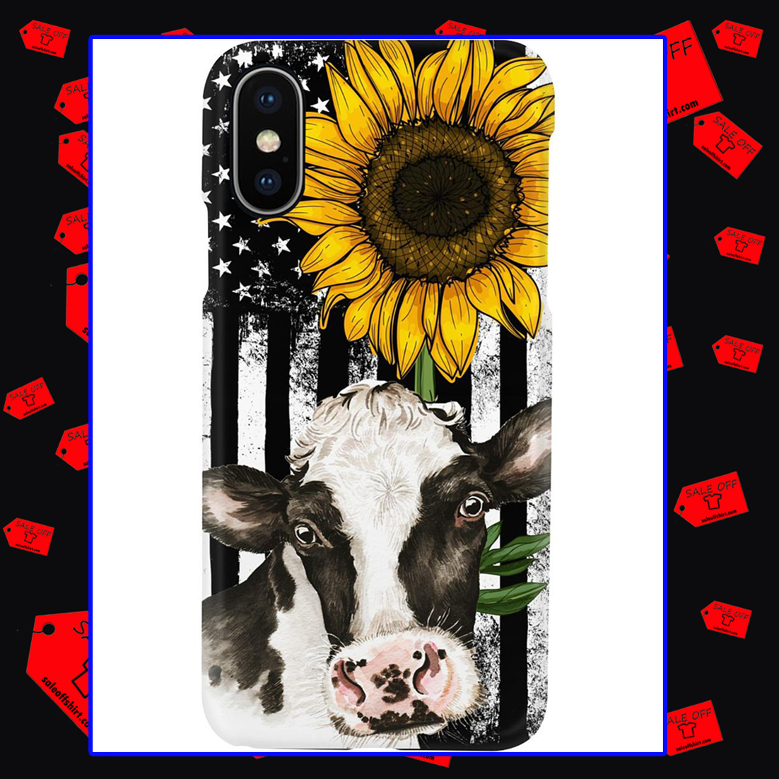 American Flag Sunflower Cow Phone Case - Iphone XS max case