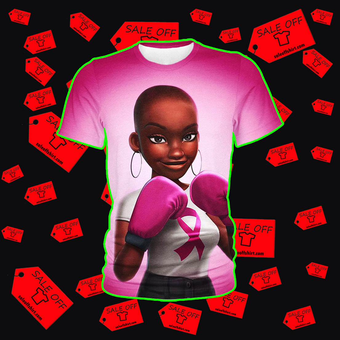 Black Girl Pink Warrior October Breast Cancer Awareness Hoodie 3D, T-shirt 3D, Sweatshirt 3D - Kid t-shirt 3D
