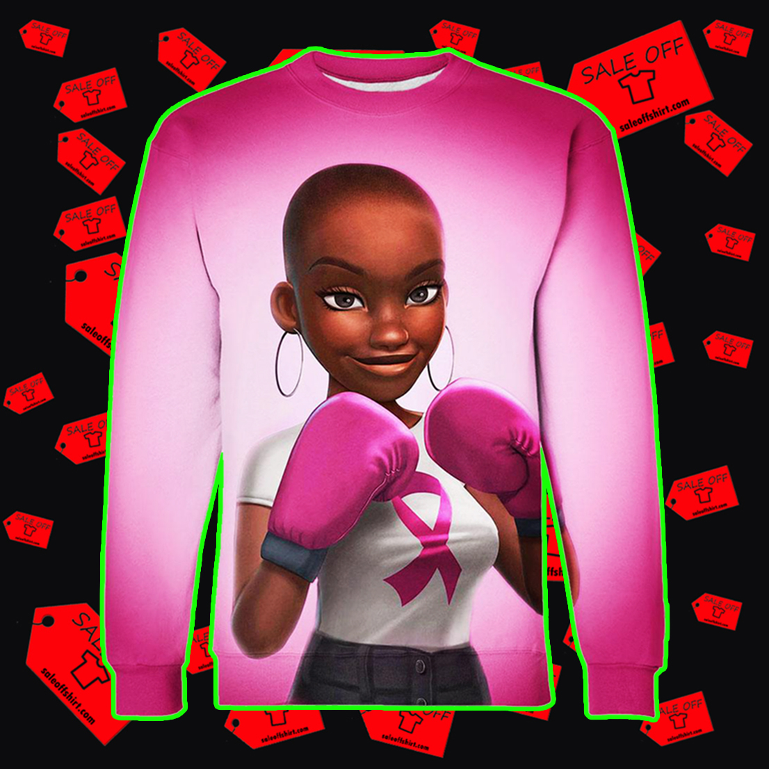 Black Girl Pink Warrior October Breast Cancer Awareness Hoodie 3D, T-shirt 3D, Sweatshirt 3D - Sweatshirt 3D