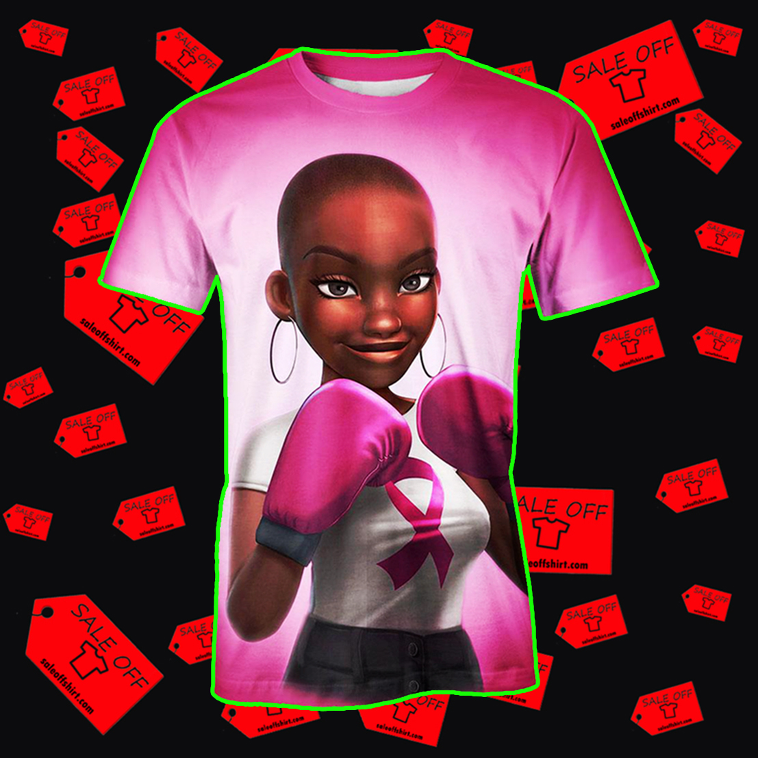 Black Girl Pink Warrior October Breast Cancer Awareness Hoodie 3D, T-shirt 3D, Sweatshirt 3D - T-shirt 3D