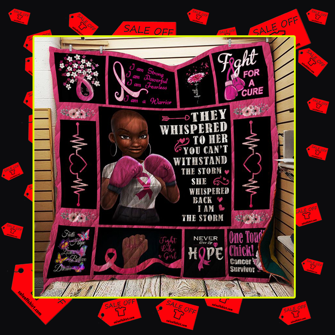 Breast cancer black girl they whispered to her you can't withstand the storm quilt blanket - queen (70x80 inches)