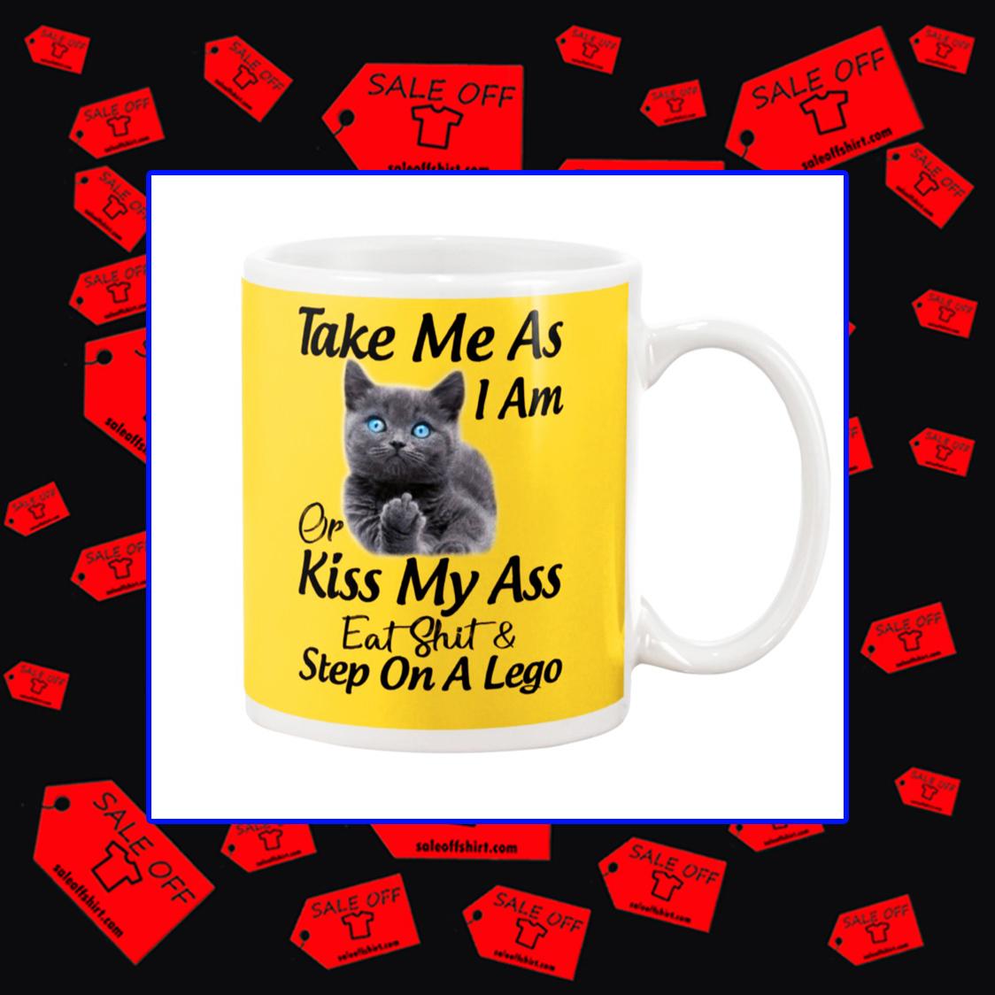 Cat take me as I am or kiss my ass mug - yeallow