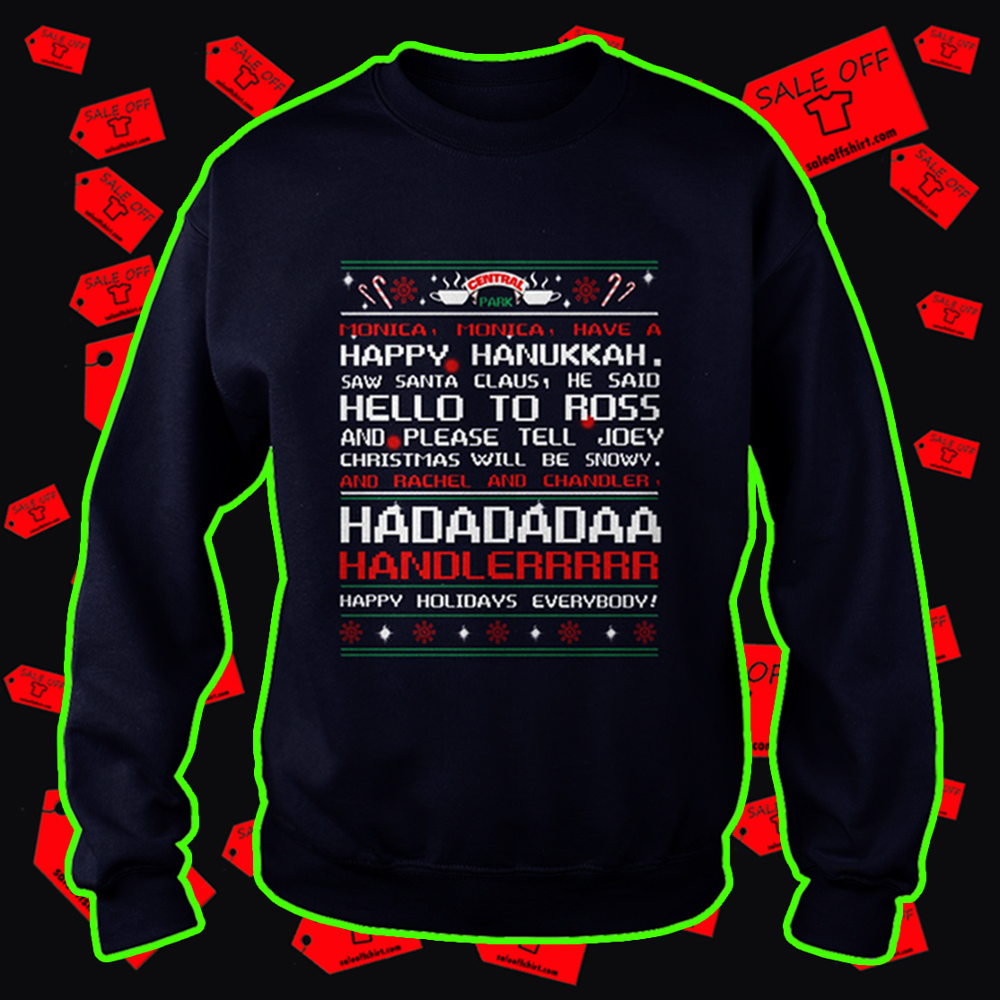 Central Park monica monica have a happy hanukkah ugly sweatshirt - navy