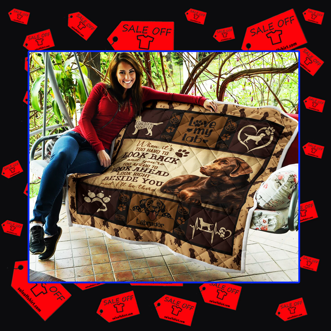 Chocolate Lab when it's too hard to look back quilt blanket - picture 2