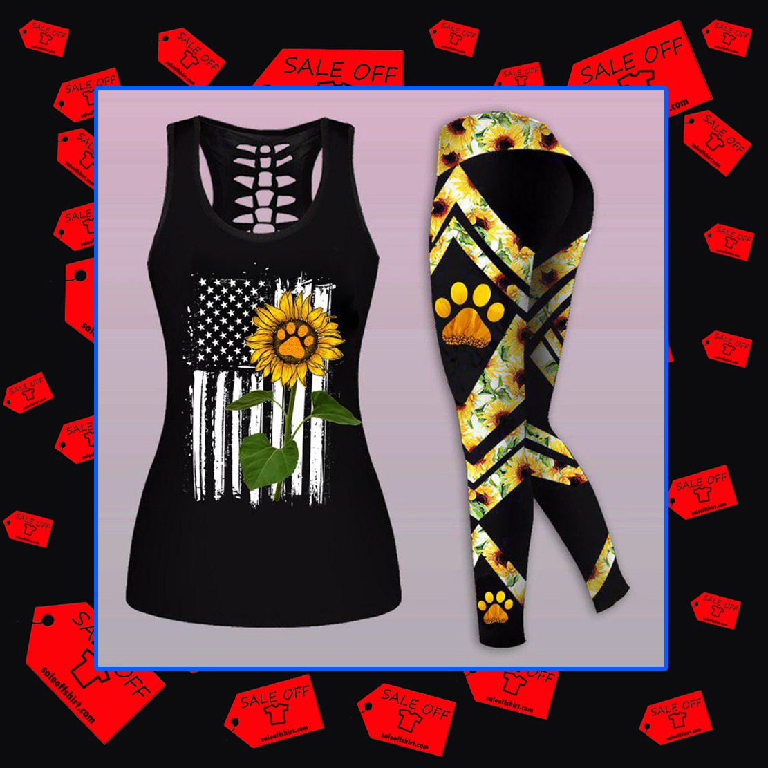 Combo American Flag Sunflower Paw Dog Mom Tank Top And Legging 3D