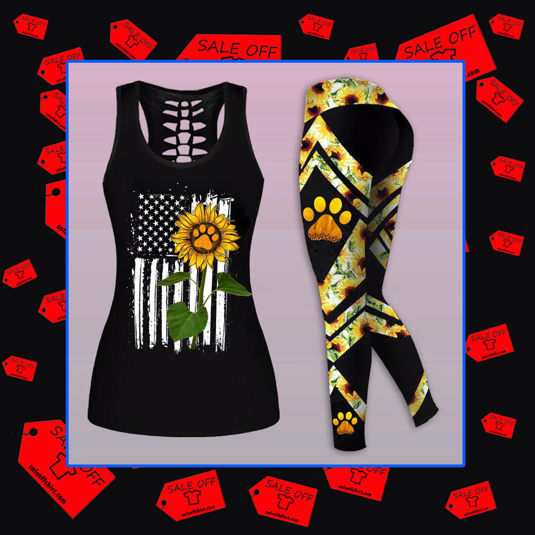 Combo American Flag Sunflower Paw Dog Mom - Tank Top And Legging 3D