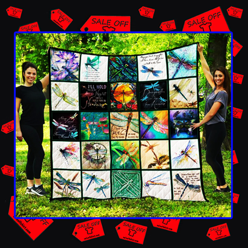 Dragonfly quilt blanket - queen 70x80 inches