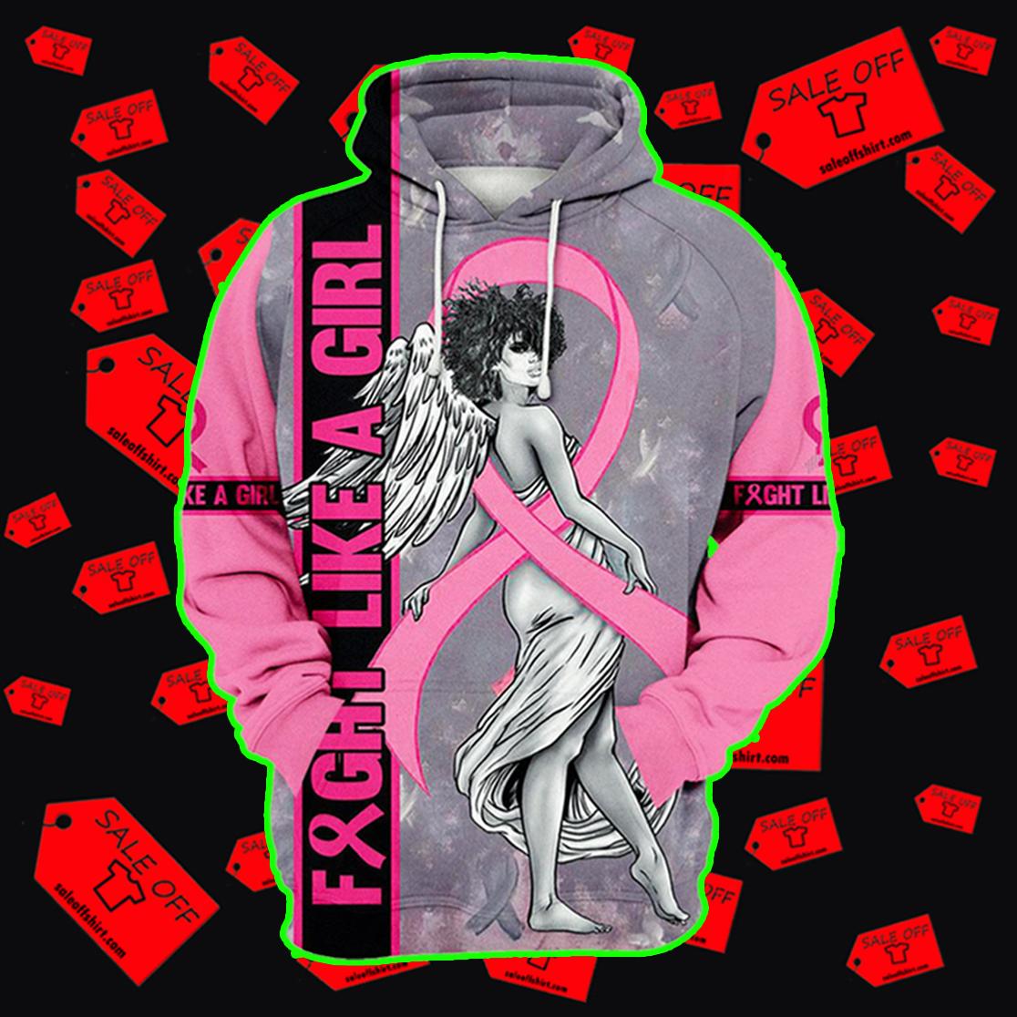 Fight Like A Girl Angel Breast Cancer Awareness Hoodie 3D, T-shirt 3D, Sweatshirt