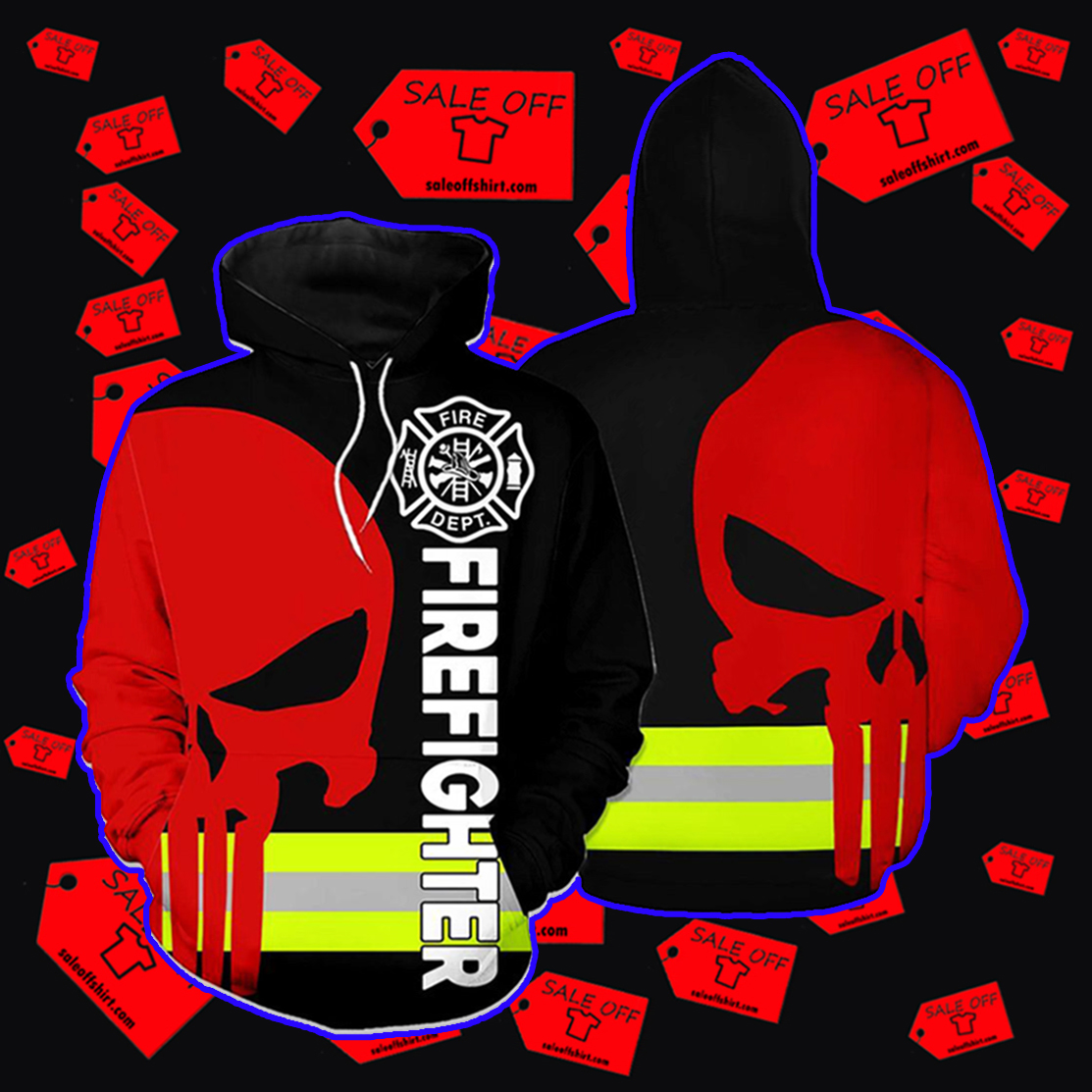 Firefighter Skull Fire Dept 3D hoodie - black