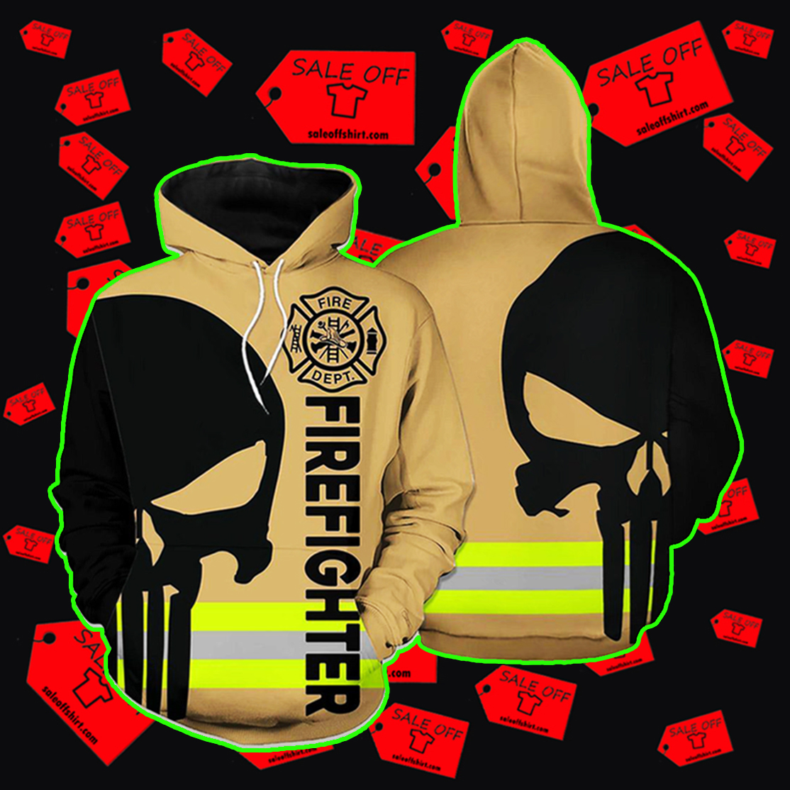 Firefighter Skull Fire Dept 3D hoodie - brown