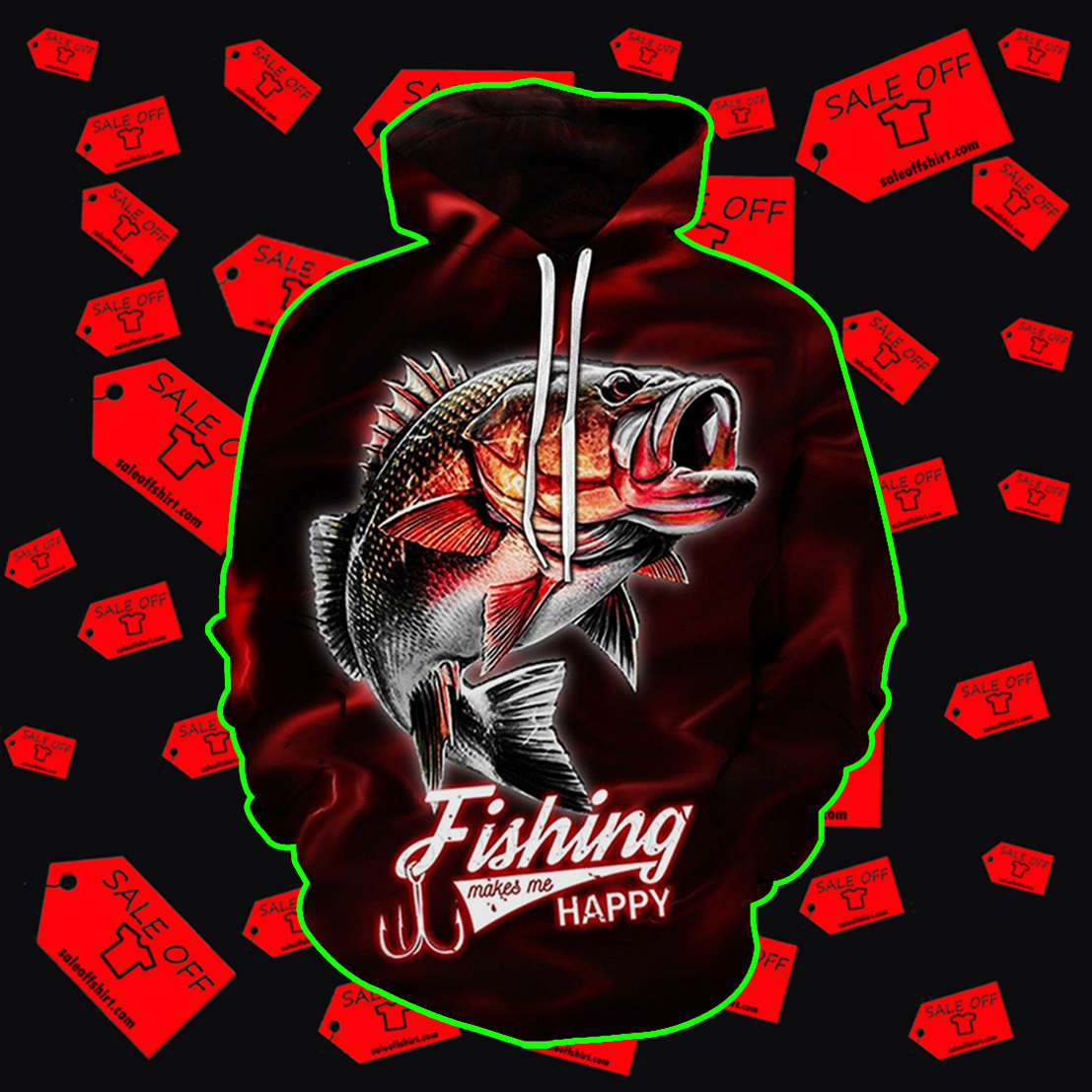Fishing Makes Me Happy Red Lightning Fisher hoodie 3D