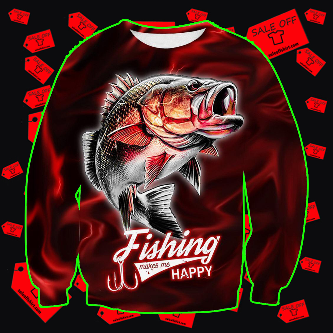 Fishing Makes Me Happy Red Lightning Fisher sweatshirt 3D